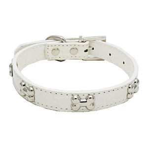 Adjustable Leather Bones Dog/Cat Collar - Happy Tails