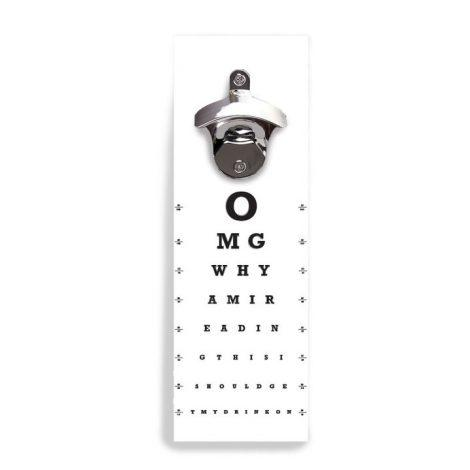 Eye Chart Wall Mounted Bottle Opener with Magnet to Keep Caps