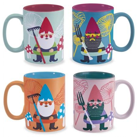Garden Gnome Mugs - Set of 4