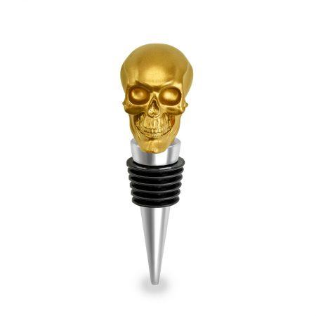 Gold Skull Wine Bottle Stopper