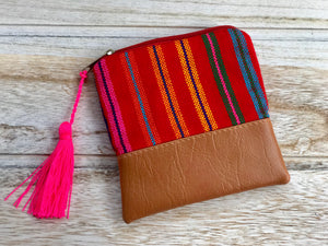 Red stripes coin purse