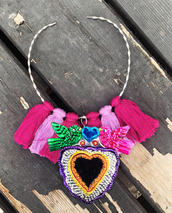 San Miguel tin-heart necklace