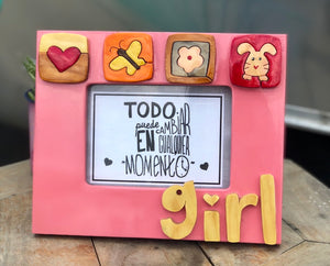 Girl wooden frame
