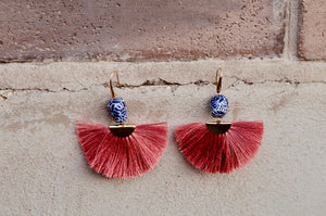Talavera abanico earrings