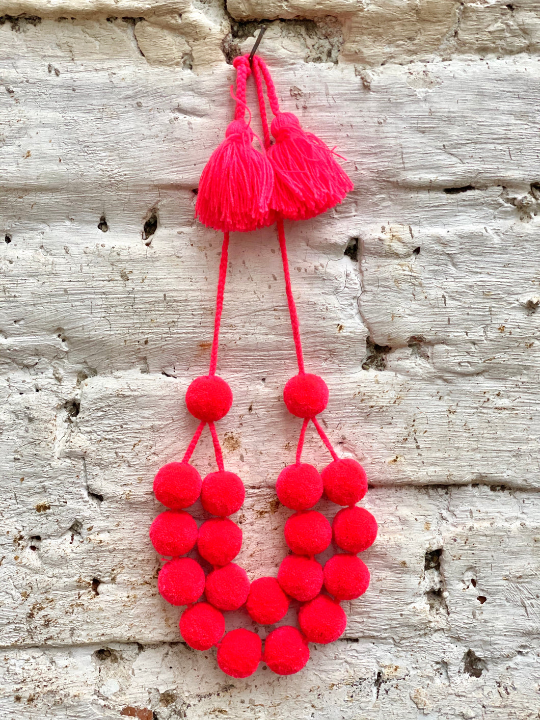 Neon Melon Pompom necklace