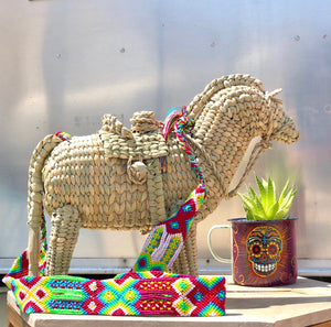 Horse handwoven palm bag