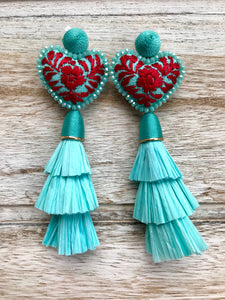 Corazón menta earrings