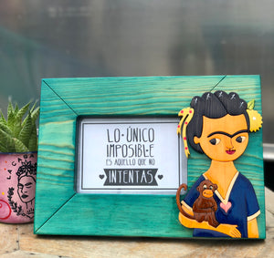 Frida teal picture frame
