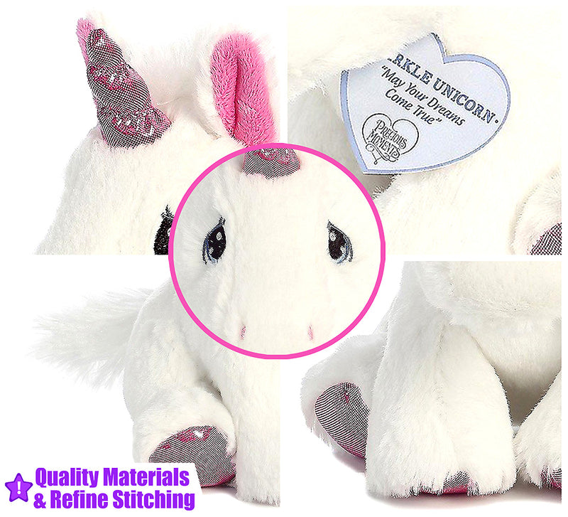 "7"" Bright Fancies Jellyroll Unicorn and Precious Moments Sparkle Unicorn 8.5"" High Quality Plush"