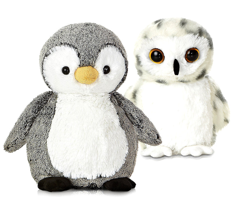 "Warp Gadgets Aurora Mini Flopsies Snowy Owl 8"" And Sweet And Softer Perky Penguin 9.5"" High Quality Plush (2 Items Included) Plush Toys"