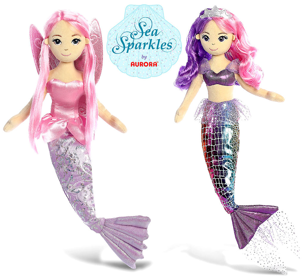 "Aurora Aurora Sea Sparkles Sea Iris 18"" And Coralina 18"" High Quality Plush Mermaids (2 Items Included) Plush Toys"