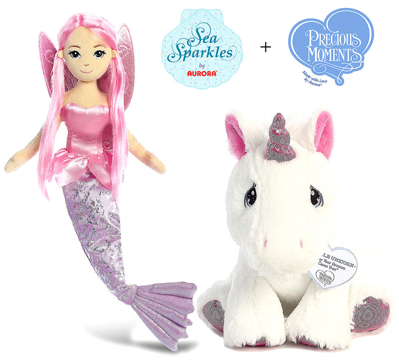 "Aurora Aurora Sea Sparkles - Coralina 18"" And Precious Moments Sparkle Unicorn 8.5"" High Quality Plush Toys Plush Plush Toys"