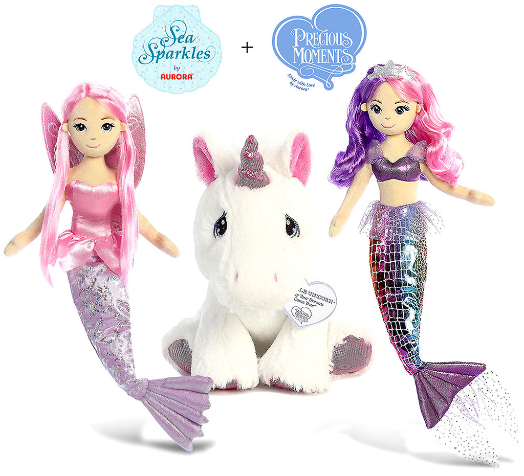 "Aurora Aurora Sea Iris 18"" And Coralina 18"" Mermaids And Our Precious Moments Sparkle Unicorn 8.5"" High Quality Plush Plush Toys"