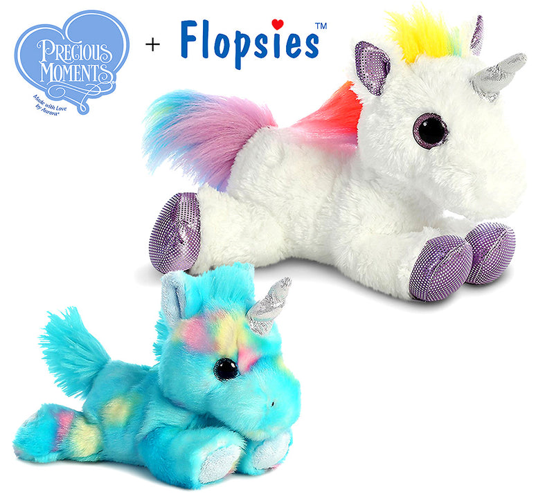 "Aurora Aurora Bright Fancies Blueberryripple Unicorn 7"" And 12"" Flopsie Rainbow Unicorn Plush Toys"