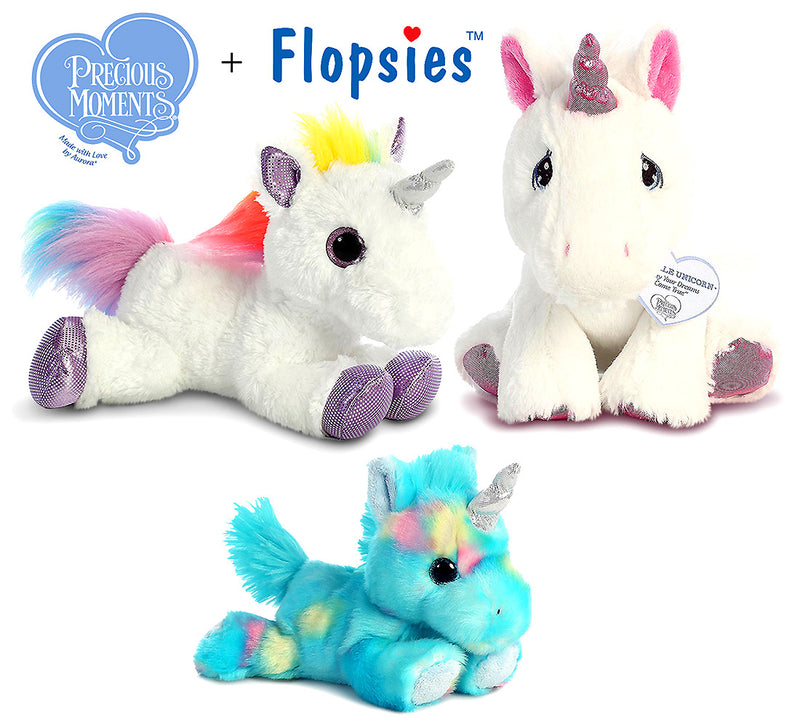 "Aurora Aurora 7"" Bright Fancies Blueberryripple Unicorn, 12"" Flopsie Rainbow Unicorn And 8.5"" Precious Moments Sparkle Unicorn Plush Plush Toys"