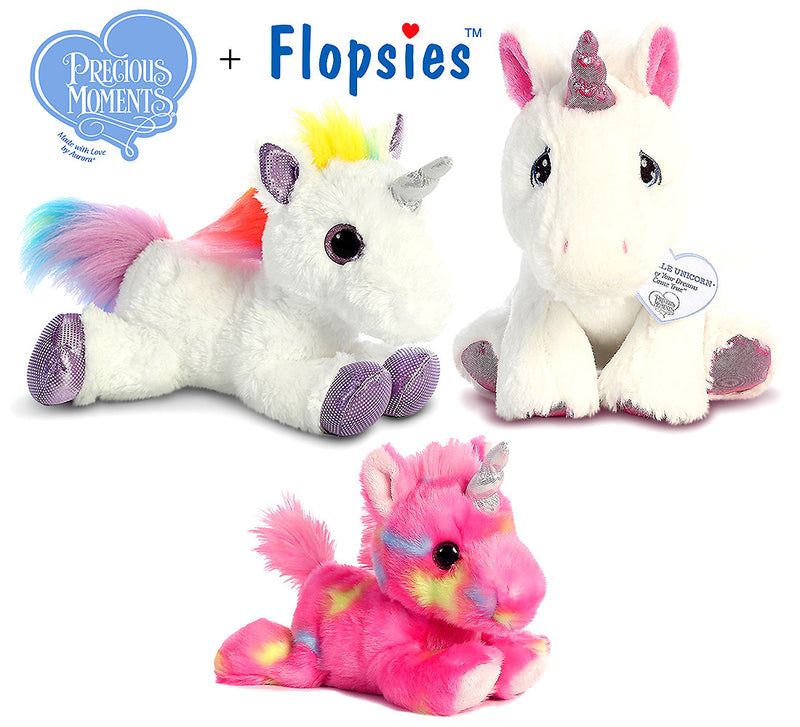 "Aurora Aurora 7"" Bright Fancies Jellyroll Unicorn, 12"" Flopsie Rainbow Unicorn And 8.5"" Precious Moments Sparkle Unicorn Plush Plush Toys"