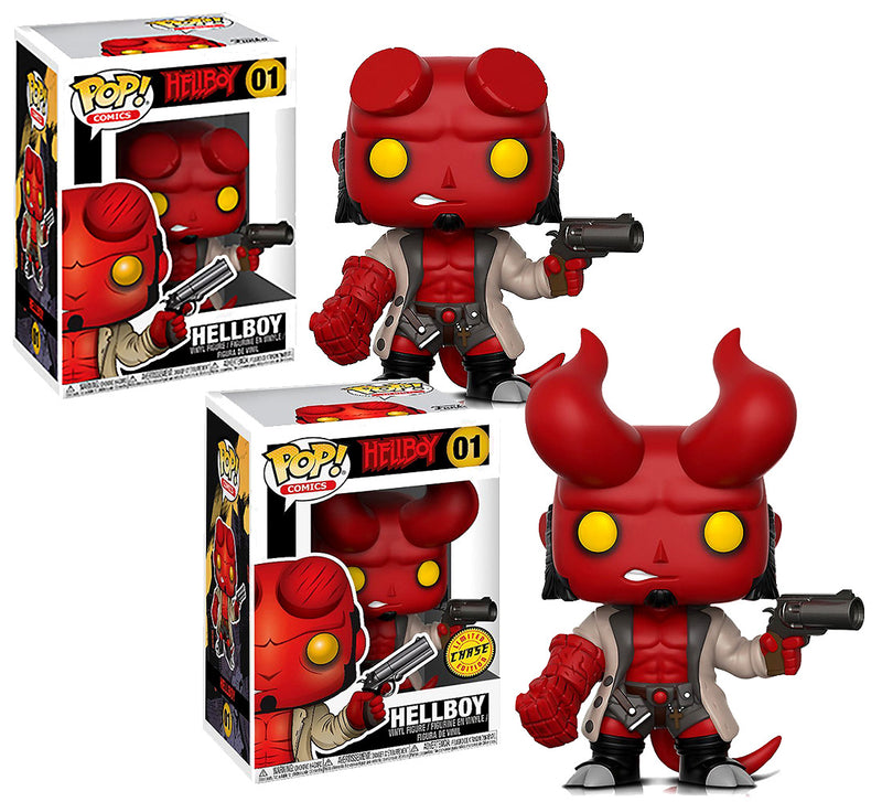 Funko Pop Hellboy Original and Hellboy Pop Chase Special Edition Vinyl Action Figures
