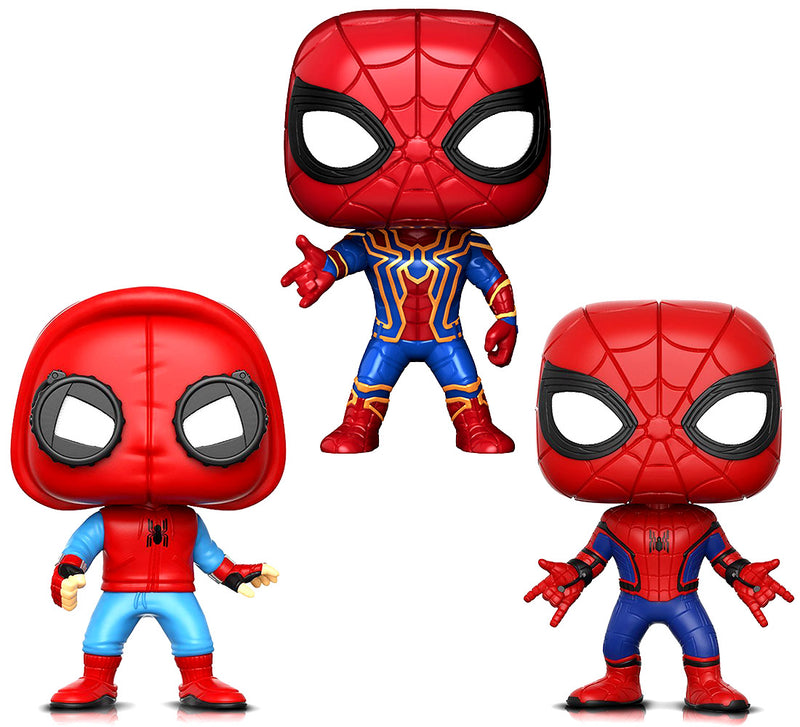 Funko Funko Pop Marvel Spider Man, Spider-Man Spider Man Proto And Marvel Infinity War Iron Spider Action Figures (3 Items Included) Action Figures Toys