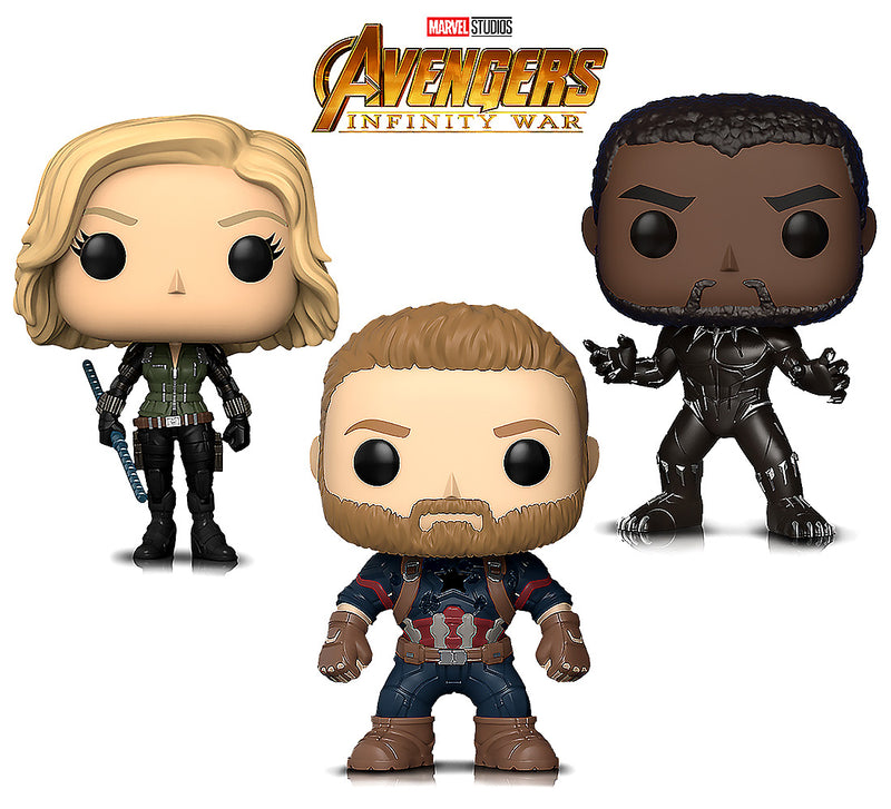 Marvel's Infinity War Black Widow, Black Panther and Captain America Action Figures