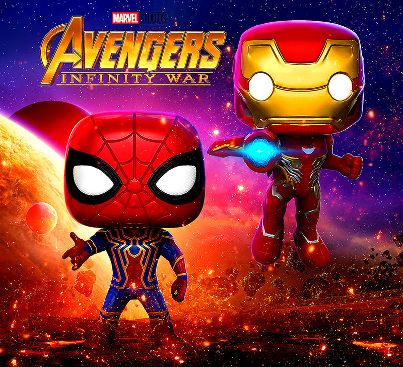 Pop Marvel Infinity War Iron Man and Iron Spider Action Figures Toys (2 Items Included)