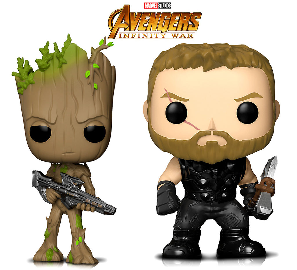 Funko Pop Marvel Infinity War Thor And Groot With Blaster Action Figures Toys (2 Items Included) Action Figures Toys