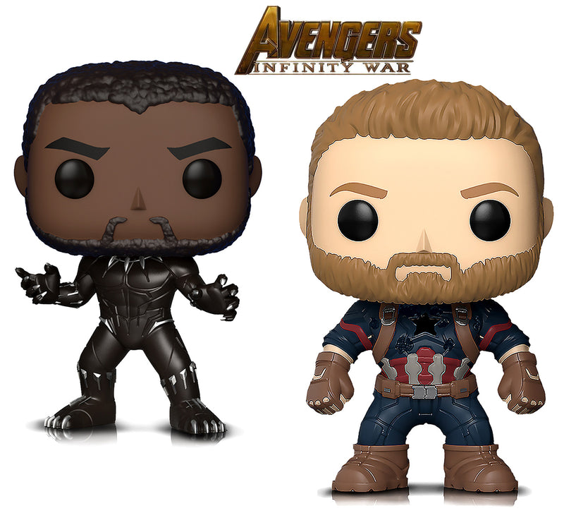 Funko Pop Marvel Black Panther And Captain America Action Figures Toys