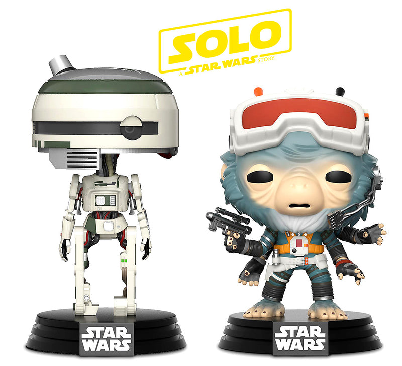 Pop Star Wars Solo Rio Durant and L3-37 Bobble Heads