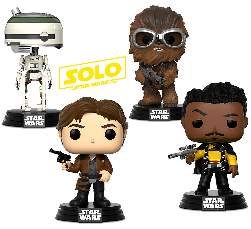 Pop Star Wars Solo Han Solo, Lando Calrissian, Chewbacca and L3-37 Bobble Heads
