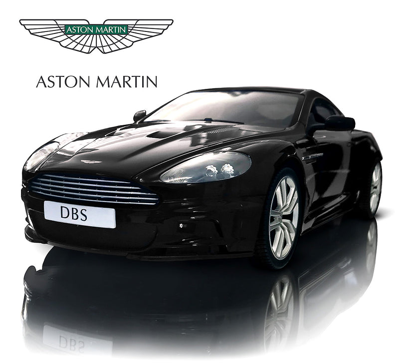 Warp Gadgets Luxurious 1:14 Scale Licensed Black Aston Martin DBS Coupe, RC Convertible, Electric Radio Remote Control Sports Racing Car - Toy for Kids & Adults Remote Controlled Toys