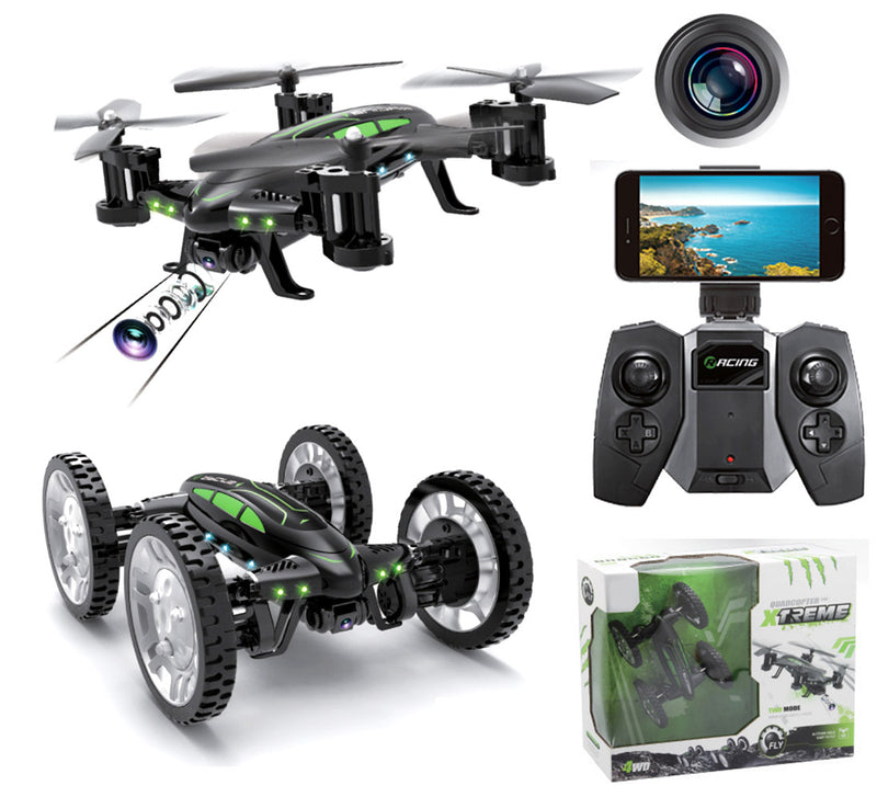 ForceFlyers Land N Air 2 In 1 Rc Drone Car W/Hi Res Fpv Camera & Altitude Hold Function Remote Controlled Toys