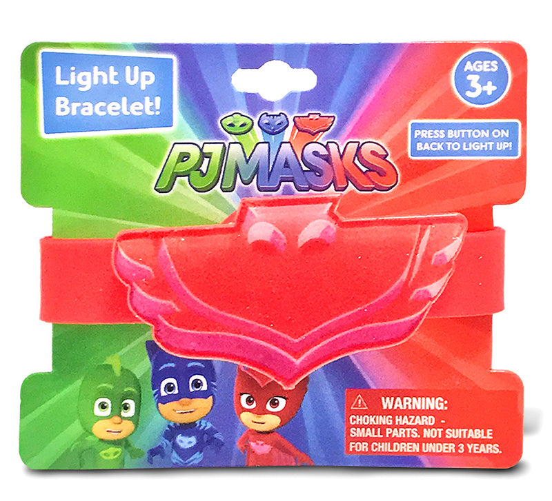 PJMasks Pj Masks Red Owlette Light Up Debossed Rubber Bracelet Pretend Play Toys