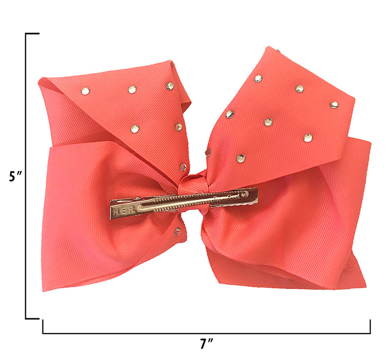 "Jojo Siwa Coral All Over Rhinestone Bow 6.5""X 5"""