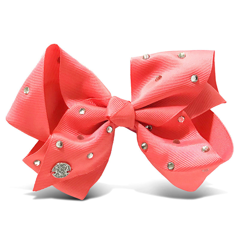 "I WEAR JOJO Jojo Siwa Coral All Over Rhinestone Bow 6.5""X 5"" Hair Accessories Toys"