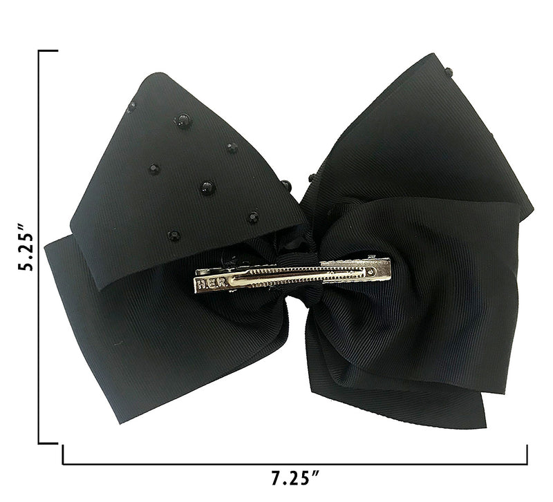 Jojo Siwa Black Signature Bow With Rhinestones and Pearls
