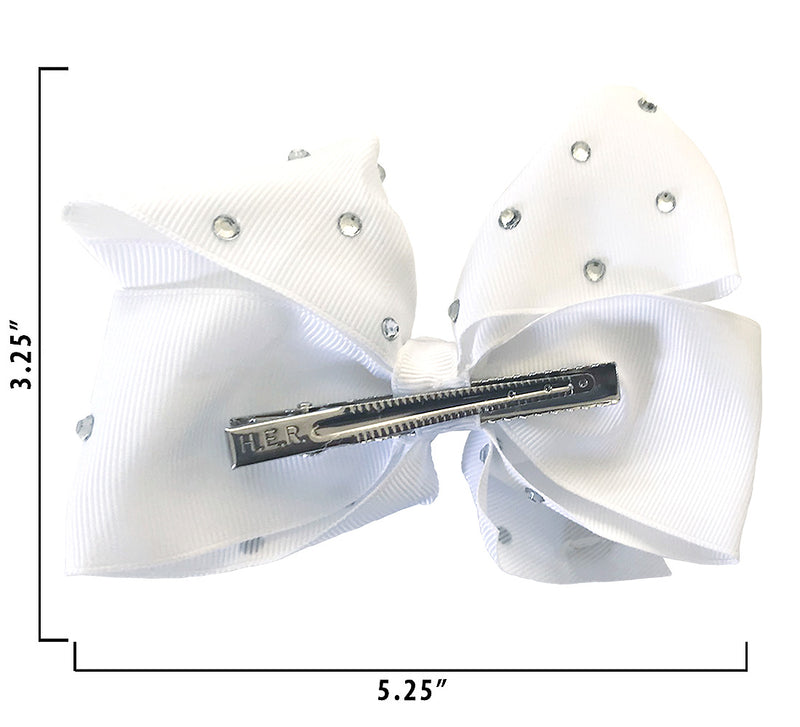Jojo Siwa White Rhinstone Bow On Metal Salon Clip