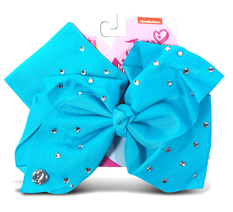Jojo Siwa Teal Signature Bow With Rhinestones
