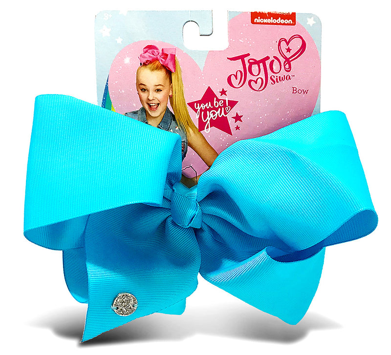 Jojo Siwa Teal Basic Bow On Metal Salon Clip