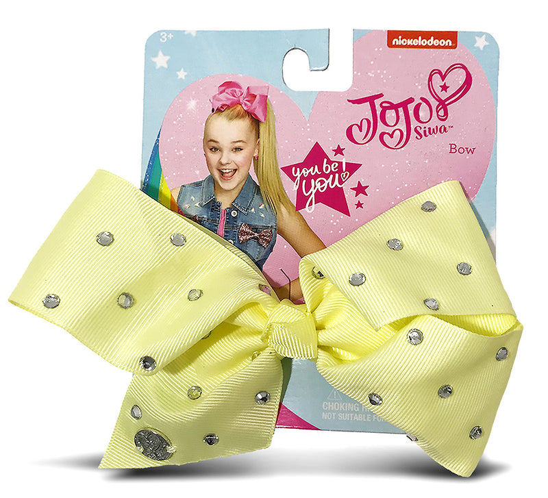 Jojo Siwa Light Yellow Signature Bow With Rhinestones