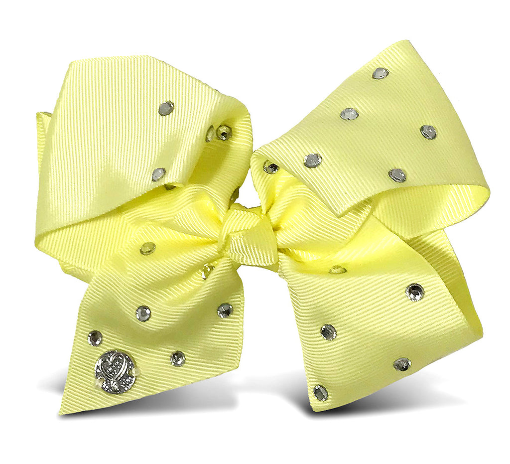 I WEAR JOJO Jojo Siwa Light Yellow Signature Bow With Rhinestones Hair Accessories Toys