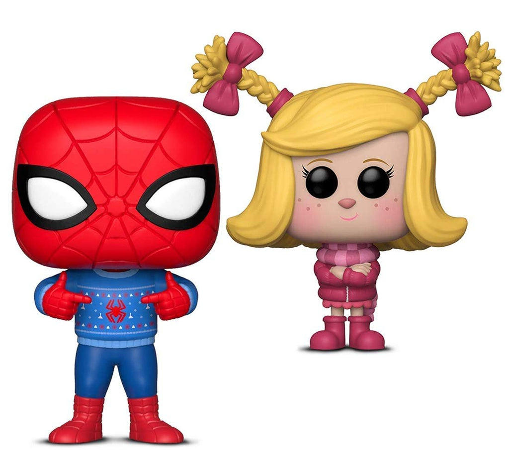 Warp Gadgets Bundle - Funko Pop! Marvel: Holiday Spider-Man with Ugly Sweater & Funko Pop Animation: The Grinch Movie Cindy Lou (2 Items)