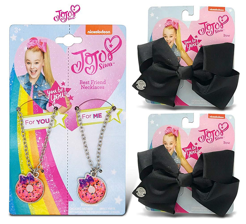 Warp Gadgets BFF Bundle - JoJo Siwa BFF Necklace and 2 Black Basic Bows on Metal Salon Clip (3 Items)