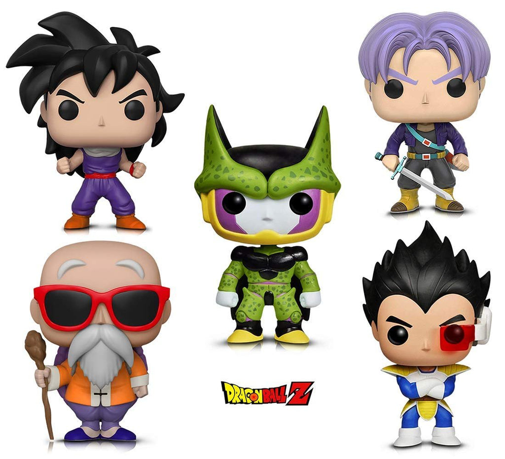 Warp Gadgets Bundle - Funko Pop! Animation: Dragonball Z - Perfect Cell, Vegeta, Trunks, Gohan (Training Outfit) & Master Roshi W/ Staff (5 Items)