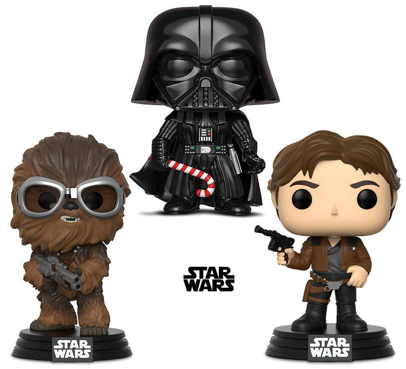Warp Gadgets Bundle - Funko Pop! Star Wars: Holiday Darth Vader with Candy Cane & Star Wars: Solo Chewbacca and Han Solo (3 Items)