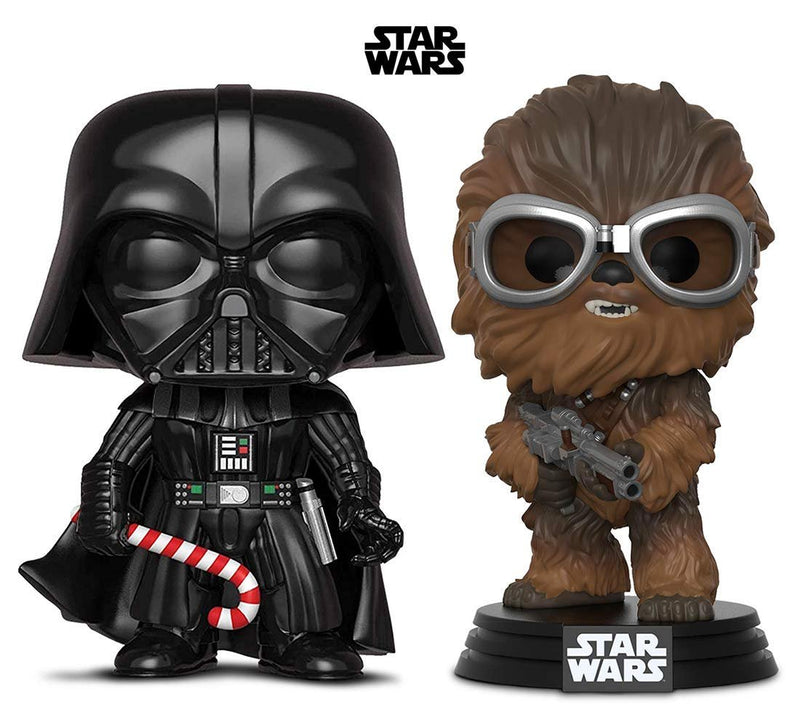 Warp Gadgets Bundle - Funko Pop! Star Wars: Holiday Darth Vader with Candy Cane & Star Wars: Solo Chewbacca (2 Items)