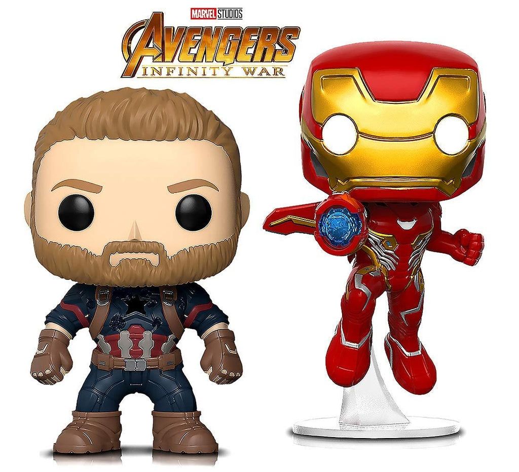 Warp Gadgets Bundle - Funko Pop Marvel Infinity War Captain America and Iron Man - Collectible Vinyl Figures (2 Items)