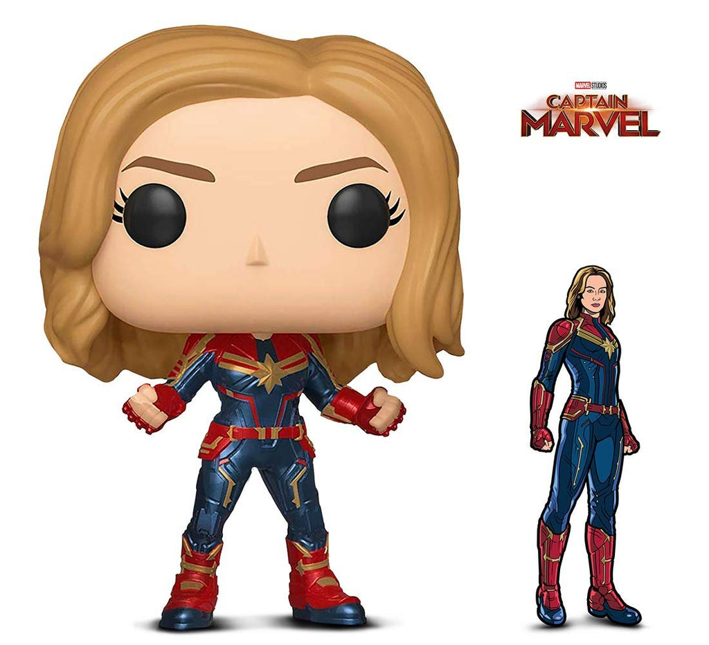 Warp Gadgets Bundle - Funko Pop! Marvel: Captain Marvel and Figpin - Captain Marvel - Collectible Enamel Pin (2 Items)