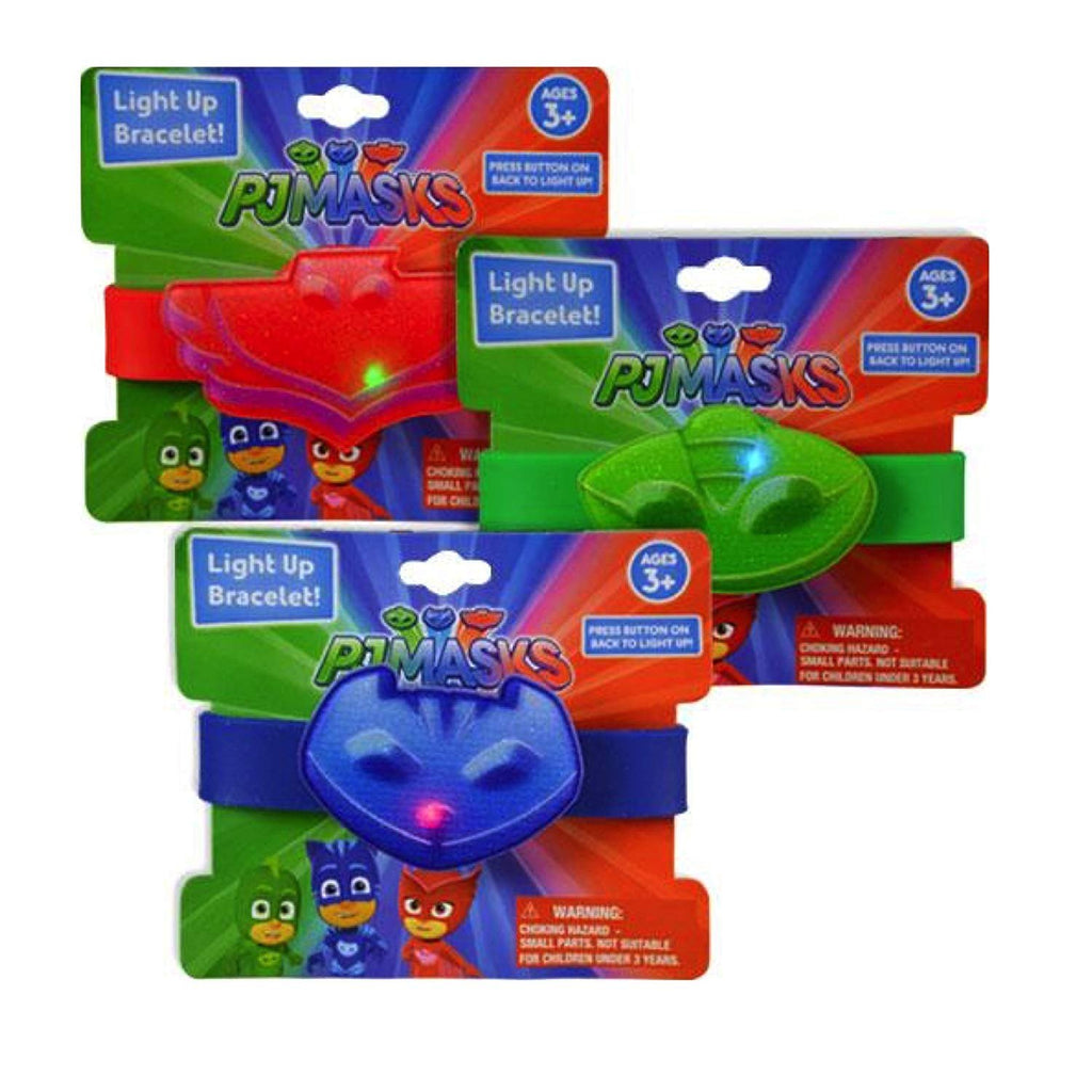 PJ MASKS Light Up Bracelets - 3 Bracelets Red Blue Green