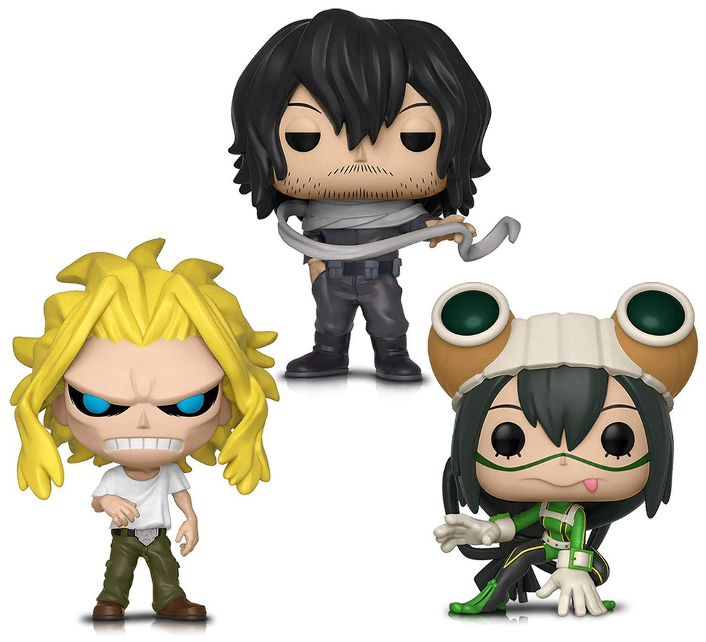 Warp Gadgets Bundle - Funko Pop! Animation: My Hero Academia - All Might (weakened), Tsuyu Asui and Shota Aizawa - Vinyl Figures (3 Items)