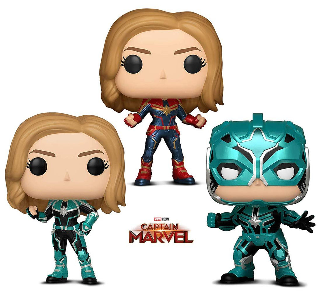 Warp Gadgets Bundle - Funko Pop! Marvel: Captain Marvel - Vers, Captain Marvel, and Star Commander (3 Items)