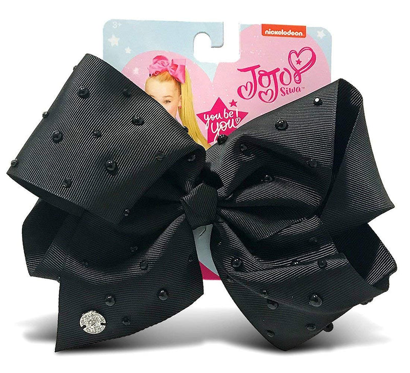 Warp Gadgets Bundle - Jojo Siwa 1 Black Signature Bow With Rhinestones and Pearls and 1 White Rhinestone Bow On Metal Salon Clip Hair Accessories (2 Items)